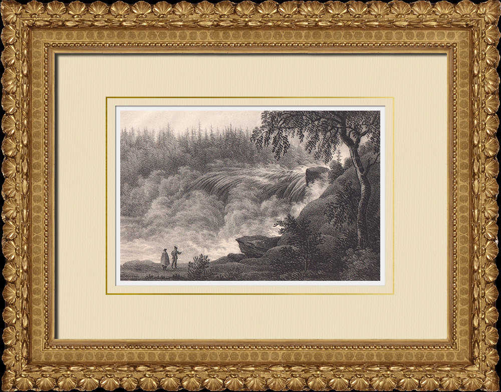 Stampe Antiche & Disegni | Cascata di Tännforsen - Åre - Norrland (Svezia) | Litografia | 1840