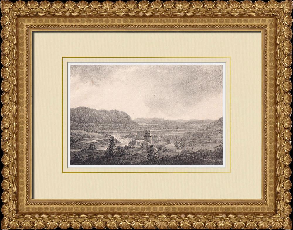 Stampe Antiche & Disegni | Vecchia chiesa di Ragunda - Indalsälven - Norrland (Svezia) | Litografia | 1840