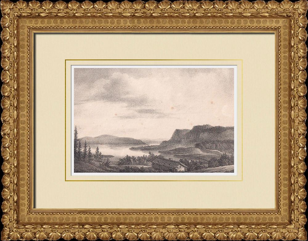 Stampe Antiche & Disegni | Veduta di Asberget - Bräcke - Örnsköldsvik - Norrland (Svezia) | Litografia | 1840