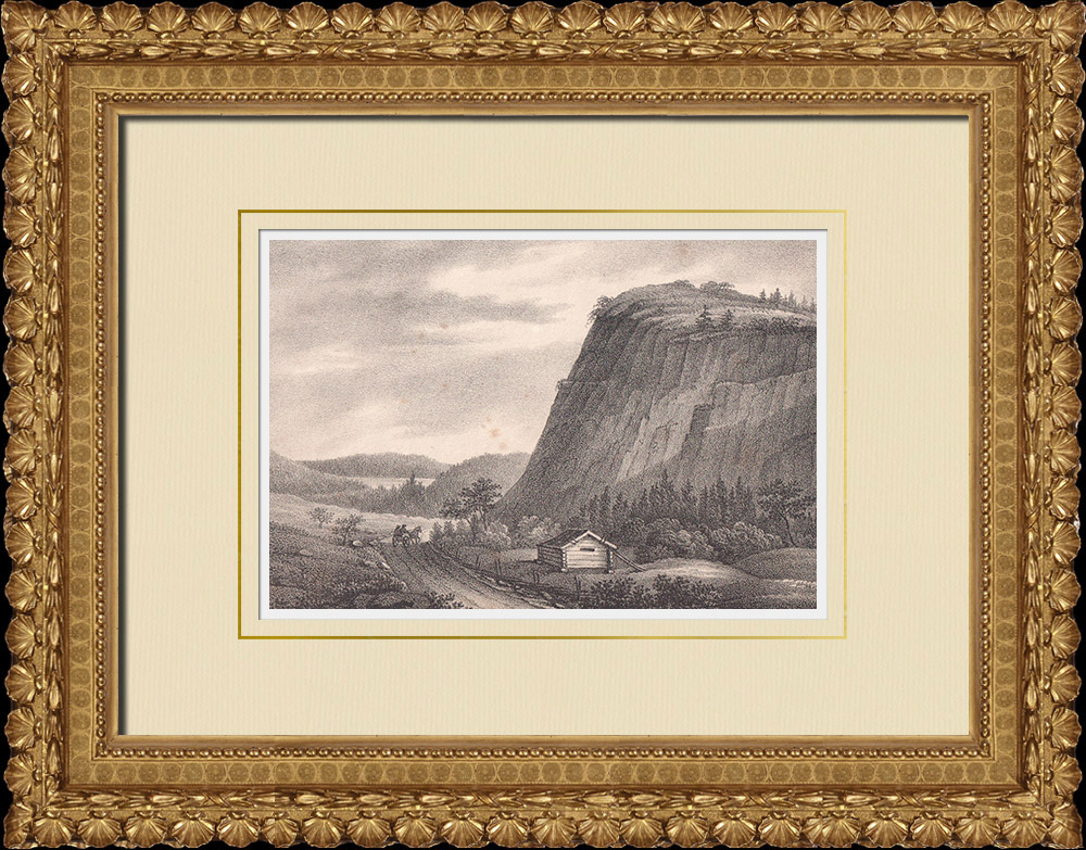Stampe Antiche & Disegni | Veduta di Skuruberget - Härnösand - Norrland (Svezia) | Litografia | 1840