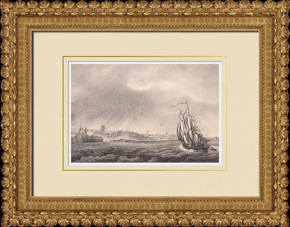 Stampe Antiche & Disegni | Veduta di Gävle - Dalälven - Norrland (Svezia) | Litografia | 1840