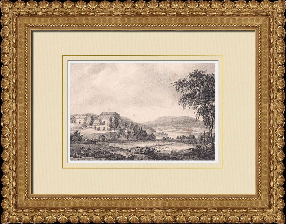 Stampe Antiche & Disegni | Chiesa di Säbrå - Härnösands - Norrland (Svezia) | Litografia | 1840