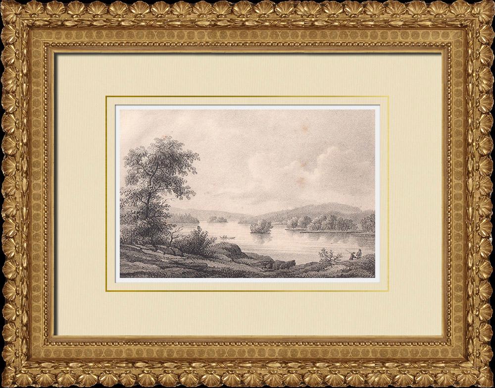 Stampe Antiche & Disegni   Veduta di Indalsälven - Fjäl - Östersund - Mar Baltico - Norrland (Svezia)   Litografia   1840