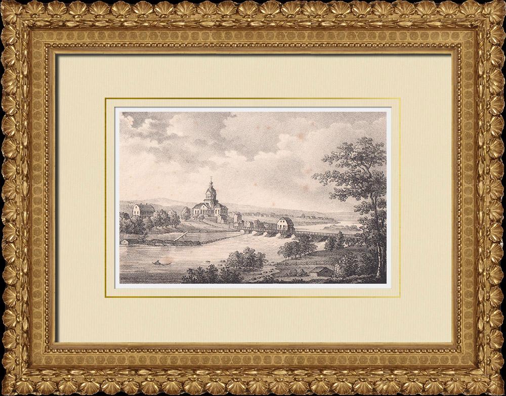 Antique Prints & Drawings | View of Skellefteå - Landsförsamlings kyrka - Norrland (Sweden) | Lithography | 1840
