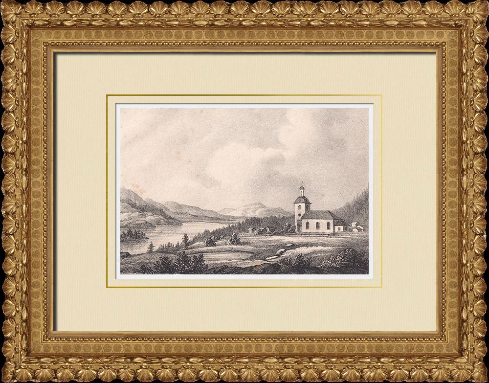Antique Prints & Drawings | View of Oviksfjellen - Klövsjö Church - Härnösand - Norrland (Sweden) | Lithography | 1840