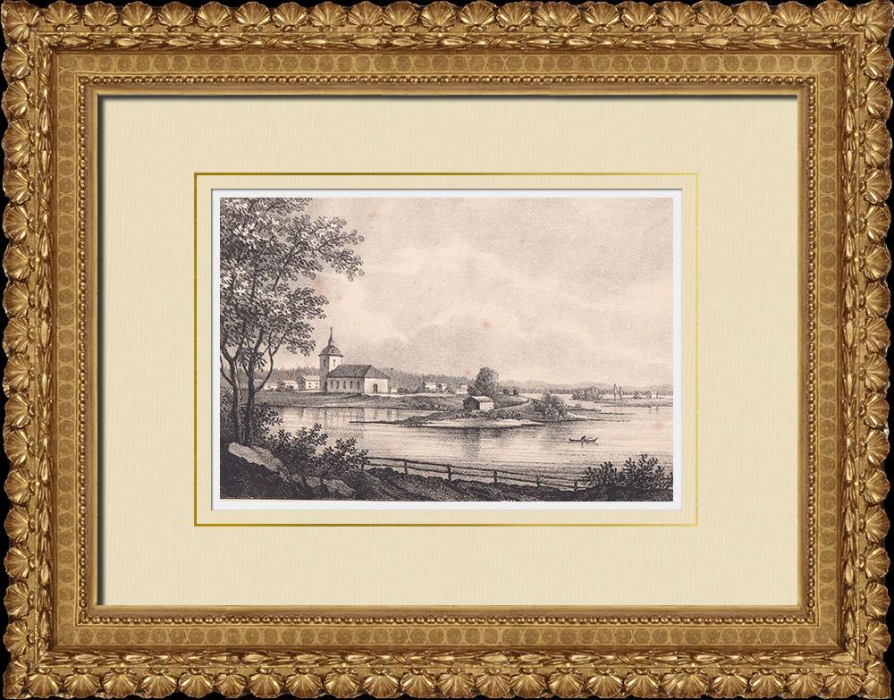 Grabados & Dibujos Antiguos   Iglesia de Ytterhogdal - Härjedalen - Norrland (Suecia)   Litografía   1840