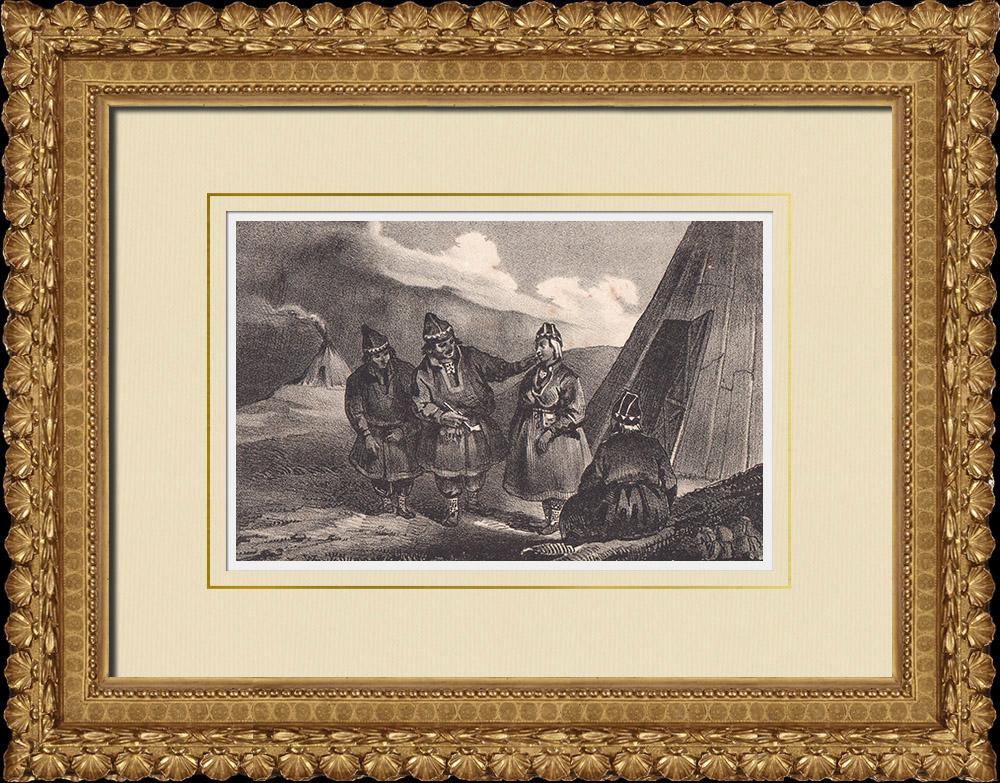 Stampe Antiche & Disegni | Costumi popolari di Lapponia svedese - Regione storiche (Svezia) | Litografia | 1840