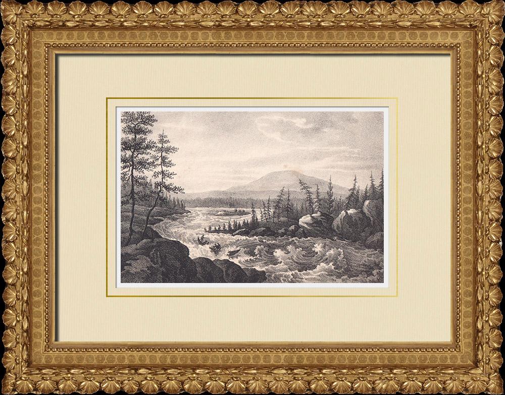 Stampe Antiche & Disegni   Cascate de Eyonpaika - Muonio-elf - Lapponia svedese (Svezia)   Litografia   1840