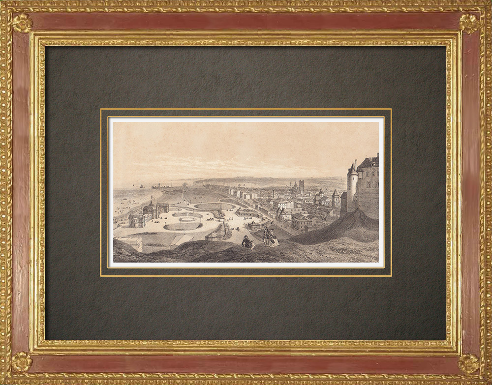 Antique Prints & Drawings | Dieppe - View from the Castle - Haute-Normandie - Seine-Maritime (France)  | Lithography | 1860