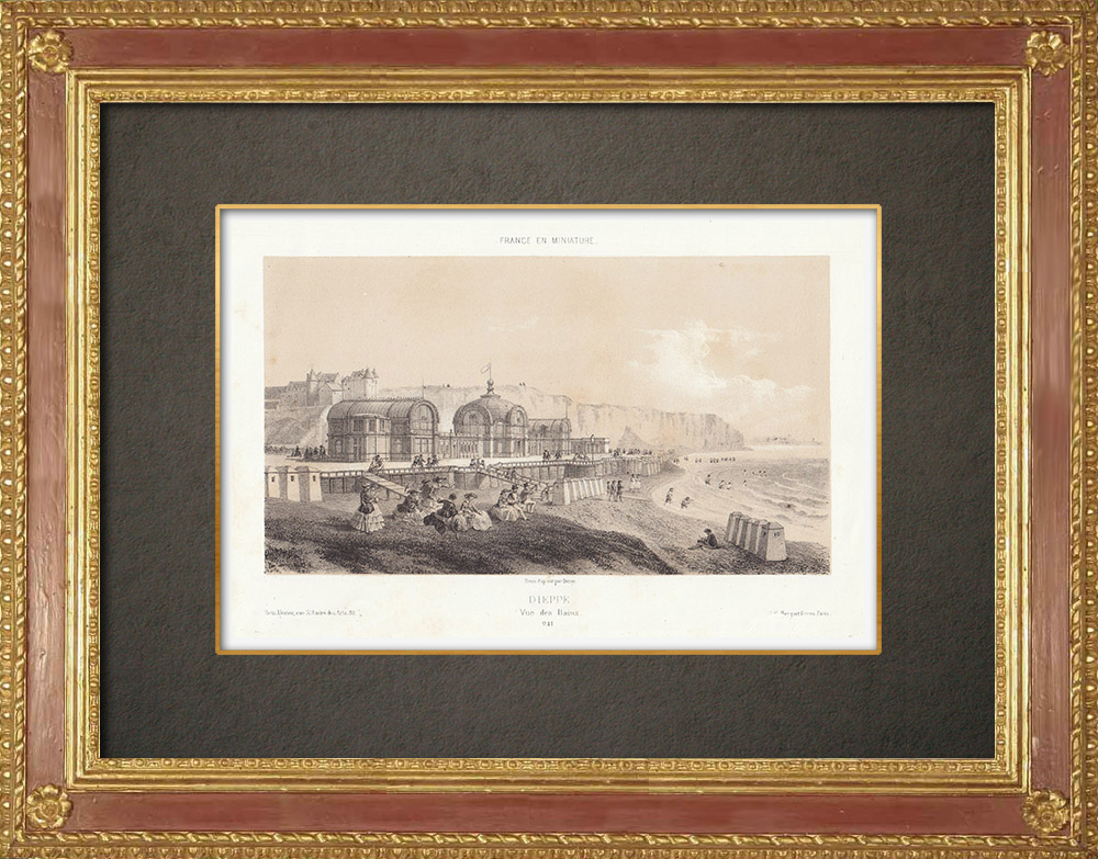 Stampe Antiche & Disegni | Le Terme di Dieppe - Senna Marittima - Alta Normandia (Francia) | Litografia | 1860