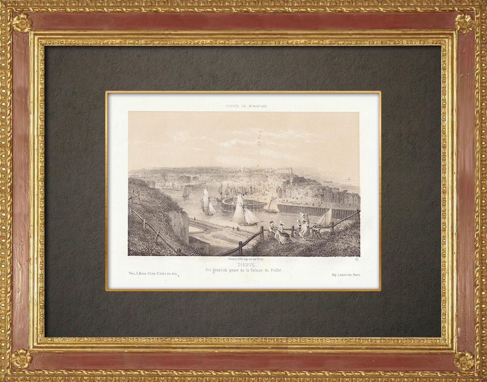 Stampe Antiche & Disegni | Dieppe - Vista dal Pollet - Alta Normandia - Senna Marittima (Francia) | Litografia | 1860