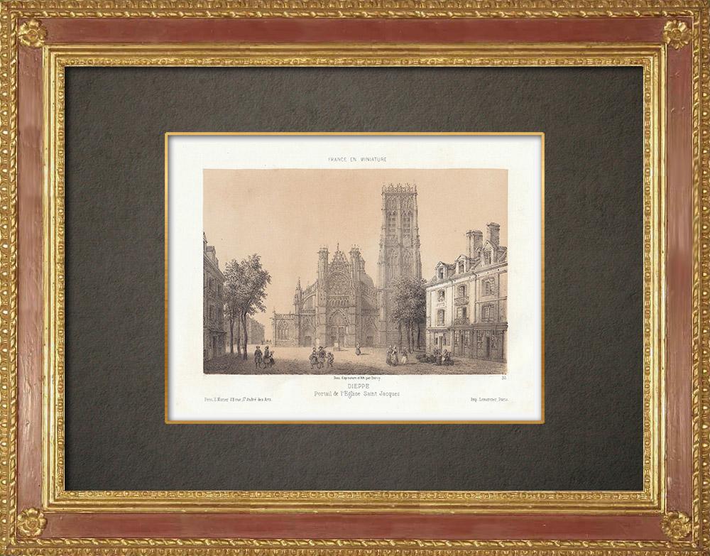 Stampe Antiche & Disegni | Chiesa Santiago a Dieppe - Seine-Maritime (Francia) | Litografia | 1860