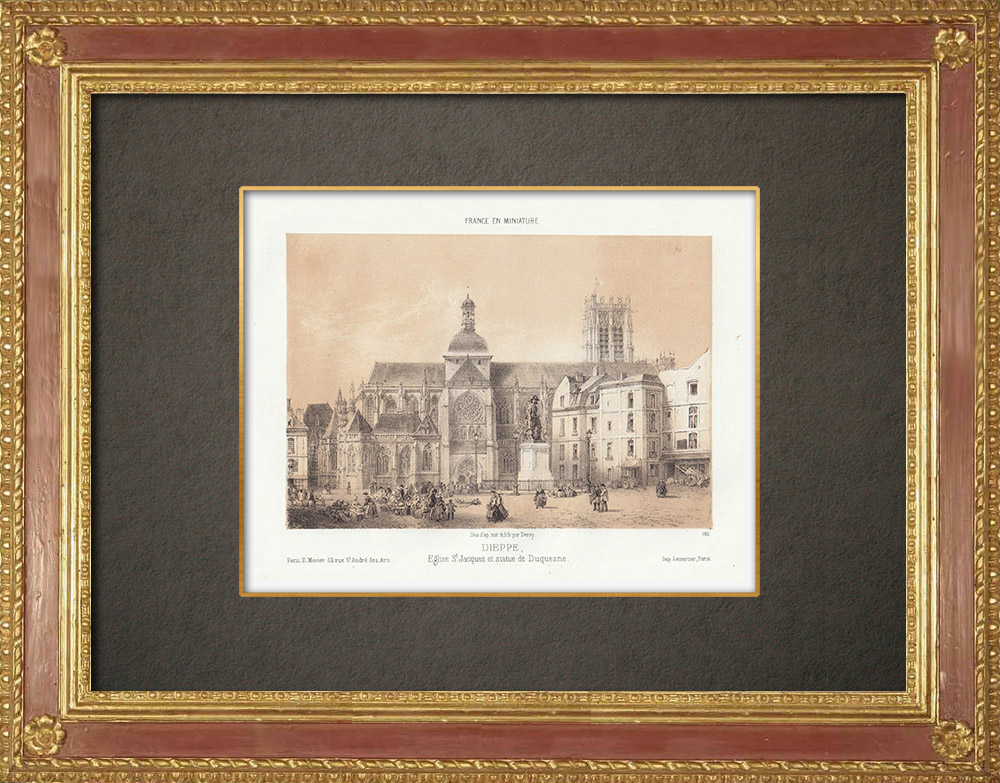 Antique Prints & Drawings | Church Sr James - Statue of Duquesne - Dieppe - Seine-Maritime (France) | Lithography | 1860