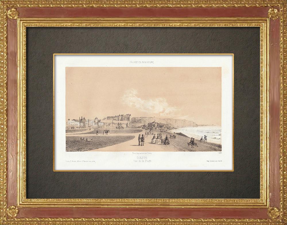 Stampe Antiche & Disegni | La spiaggia di Dieppe - Senna Marittima - Alta Normandia (Francia) | Litografia | 1860