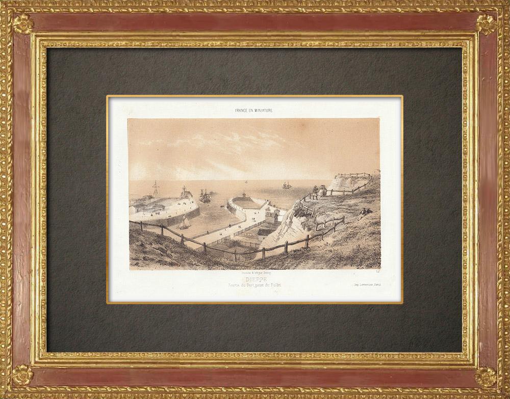 Stampe Antiche & Disegni | Porto di Dieppe - Vista dal Pollet - Alta Normandia - Senna Marittima (Francia) | Litografia | 1860