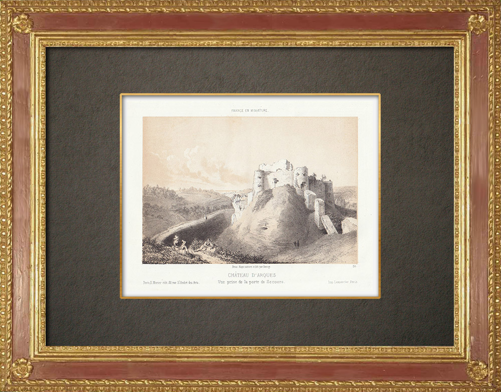 Stampe Antiche & Disegni | Arques-la-Bataille - Castello - Seine-Maritime (Francia) | Litografia | 1860