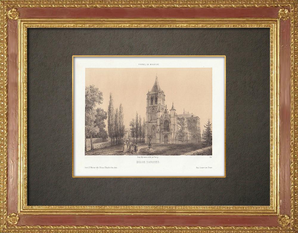 Gravures Anciennes & Dessins | Église Notre-Dame-de-l'Assomption d'Arques-la-Bataille - Seine-Maritime (France) | Lithographie | 1860