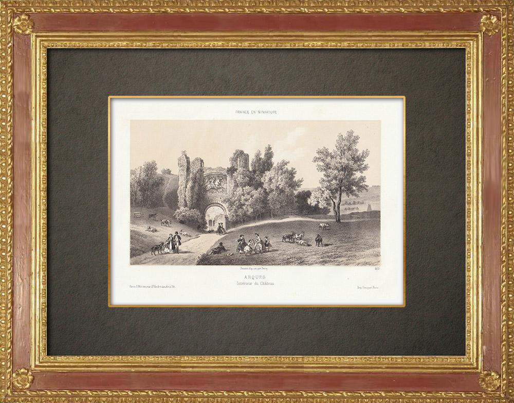 Stampe Antiche & Disegni   Arques-la-Bataille - Interno del castello - Seine-Maritime (Francia)   Litografia   1860
