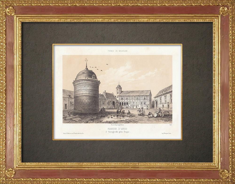 Gravures Anciennes & Dessins | Manoir d'Ango à Varengeville - Haute-Normandie (France) | Lithographie | 1860