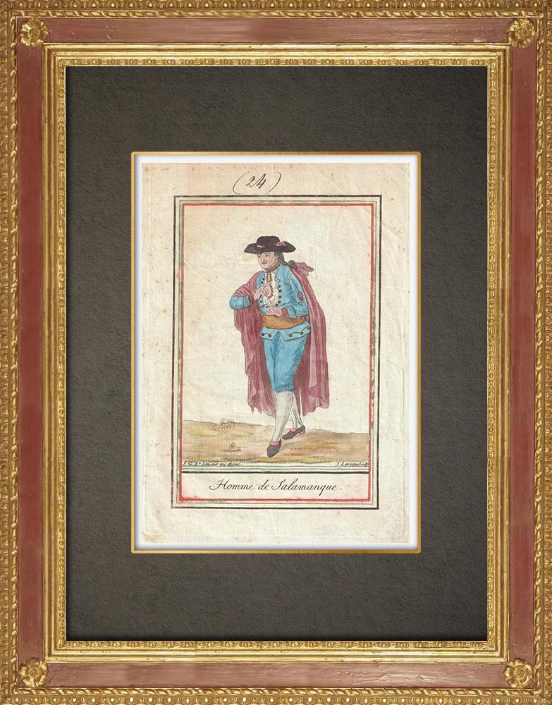 Stampe Antiche & Disegni | Costume Tradizionale di Salamanca - Castiglia e León (Spagna) | Incisione su rame | 1796