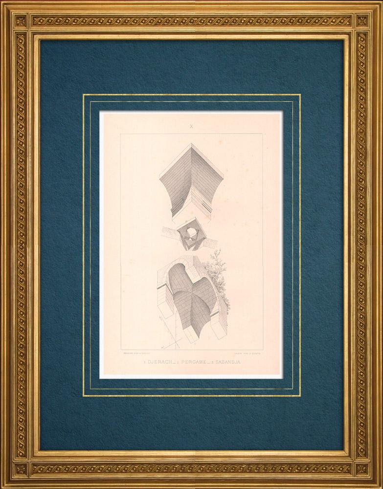 Stampe Antiche & Disegni | Djerach - Gerasa (Giordania) - Pergamo - Sapanca - Ponte sul Sangario (Turchia) | Stampa calcografica | 1883