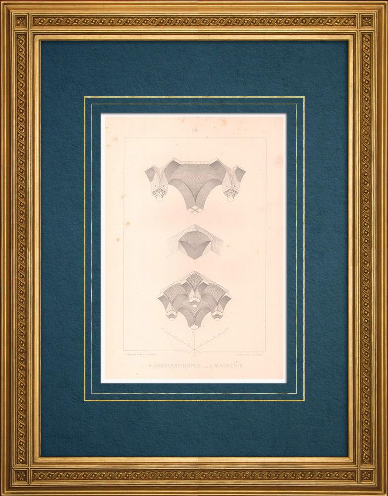 Antique Prints & Drawings | Constantinople - Yerebatan Sarnici - Magnesia on the Maeander - Byzantine Empire (Turkey) | Intaglio print | 1883