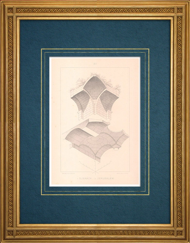 Gravures Anciennes & Dessins | Djerach - Gérasa (Jordanie) - Jérusalem - Haram-ech-Chérif (Proche-Orient) | Taille-douce | 1883