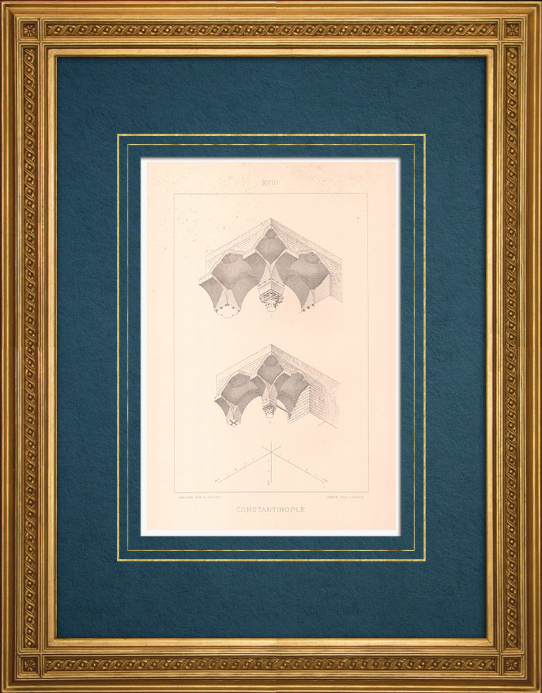 Gravures Anciennes & Dessins | Constantinople - Citerne de Boudroun - Art byzantin (Turquie) | Taille-douce | 1883