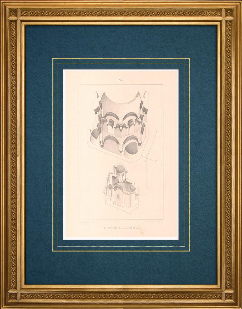 Grabados & Dibujos Antiguos   Rávena - Baptisterio (Italia) - Monte Athos - Monasterio de San Pandeleimonos (Grecia)   Grabado en talla dulce   1883