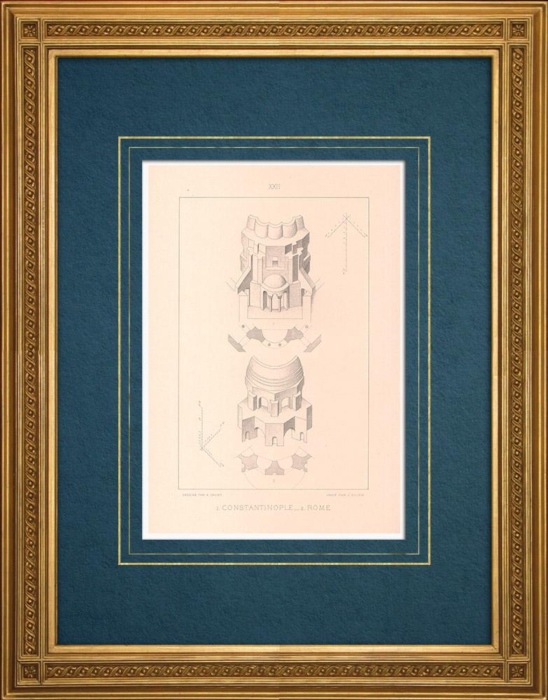 Stampe Antiche & Disegni   Costantinopoli - Chiesa dei Santi Sergio e Bacco (Turchia) - Minerva Medica - Roma (Italia)   Stampa calcografica   1883