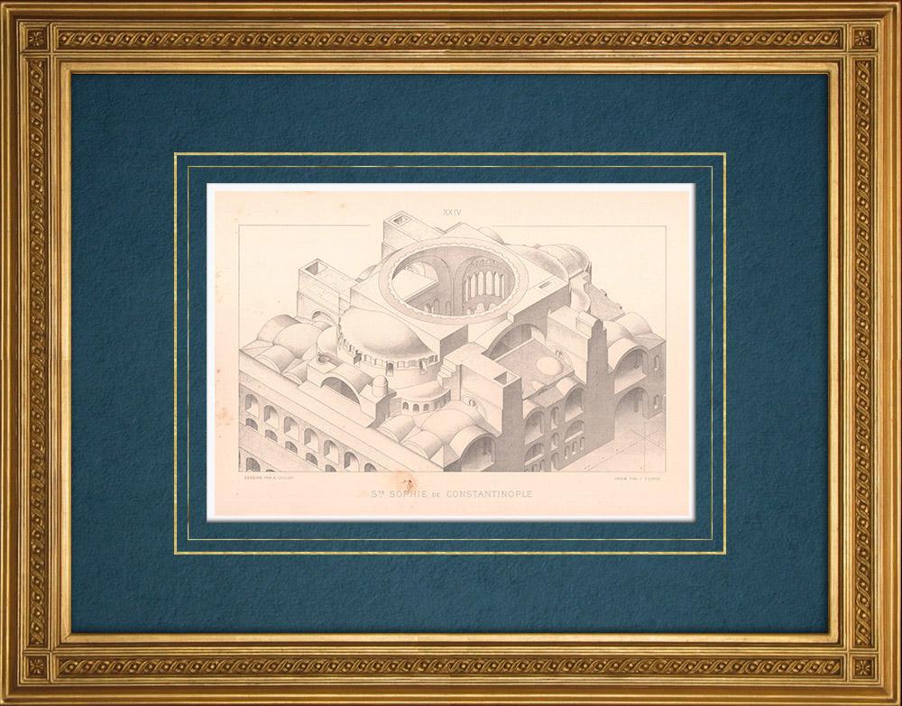 Stampe Antiche & Disegni | Costantinopoli - Basilica di Santa Sofia - Architettura bizantina (Turchia)  | Stampa calcografica | 1883