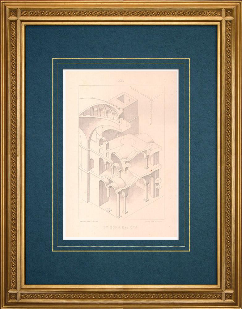 Stampe Antiche & Disegni   Costantinopoli - Basilica di Santa Sofia - Architettura bizantina (Turchia)    Stampa calcografica   1883