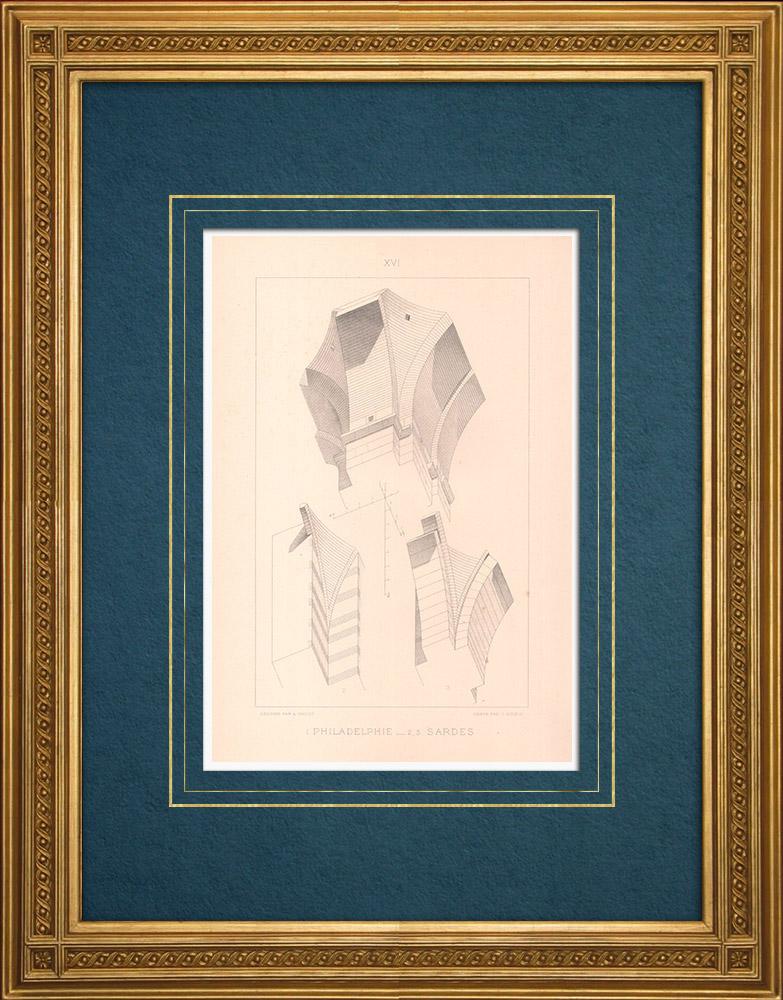 Stampe Antiche & Disegni   Sette Chiese dell'Asia - Filadelfia - Sardi - Architettura bizantina (Turchia)   Stampa calcografica   1883
