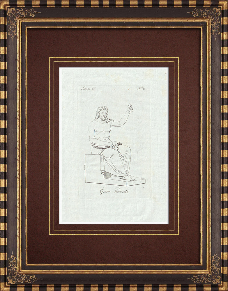 Grabados & Dibujos Antiguos | Estatua de Júpiter sentado - Galería Borghese - Roma | Grabado calcográfico | 1796