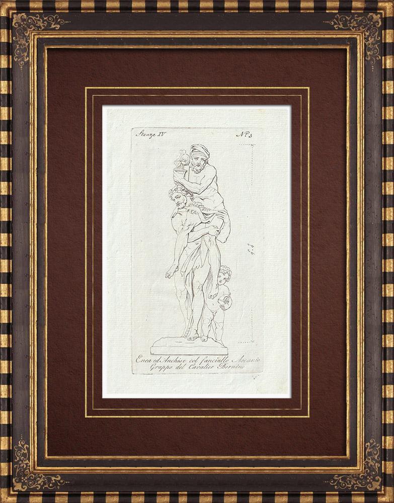 Stampe Antiche & Disegni   Enea che sorregge Anchise sulle spalle (Cavaliere Bernini) - Galleria Borghese   Incisione su rame   1796