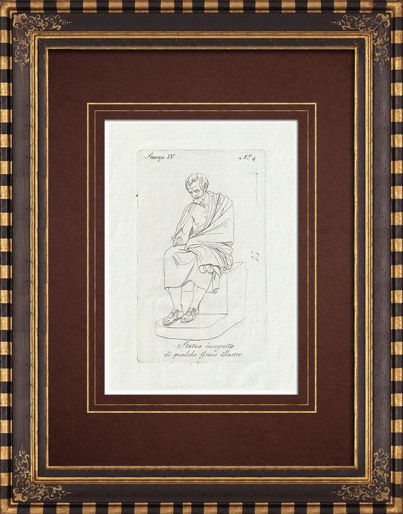 Stampe Antiche & Disegni | Statua di un famoso Greco - Galleria Borghese - Roma | Incisione su rame | 1796