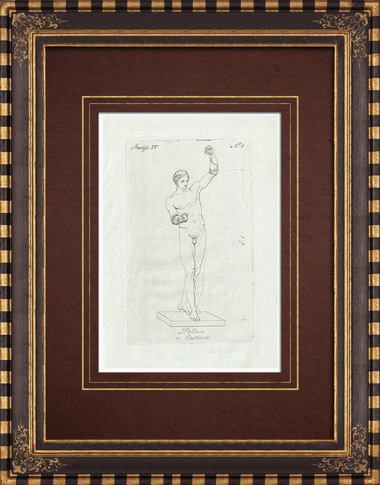 Grabados & Dibujos Antiguos | Pólux - Polluce o 'Cestiario - Galería Borghese - Roma | Grabado calcográfico | 1796