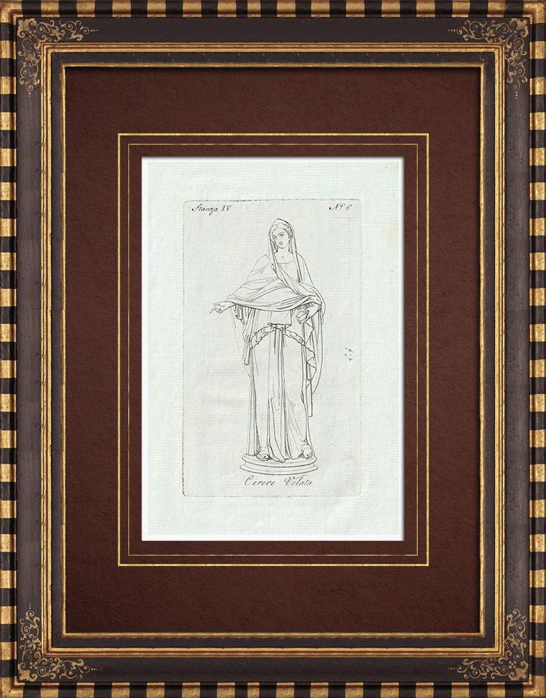 Stampe Antiche & Disegni | Cerere velata - Galleria Borghese - Roma | Incisione su rame | 1796