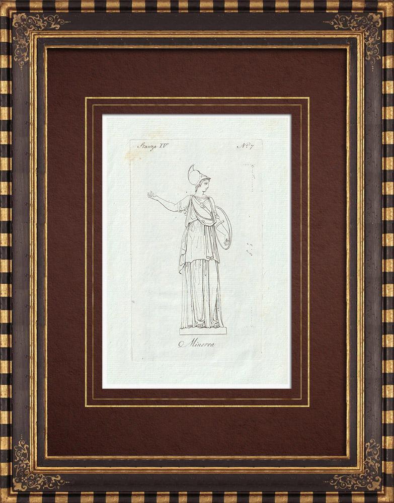 Stampe Antiche & Disegni | Minerva - Mitologia romana - Galleria Borghese - Roma | Incisione su rame | 1796