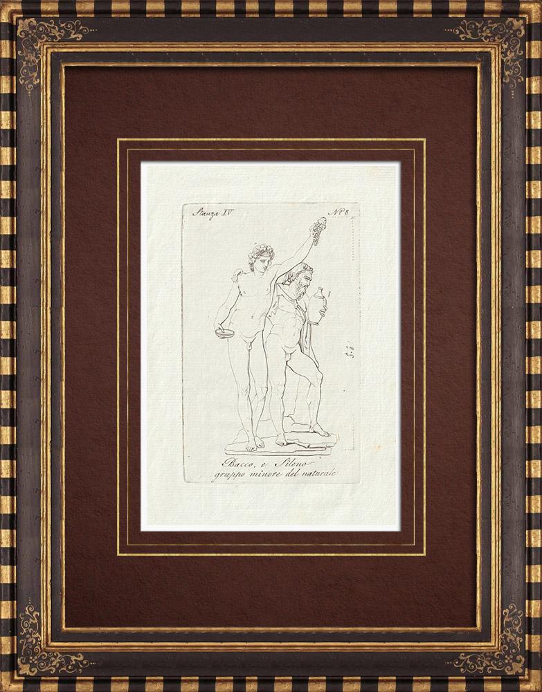 Stampe Antiche & Disegni | Bacco e Sileno - Galleria Borghese - Roma | Incisione su rame | 1796