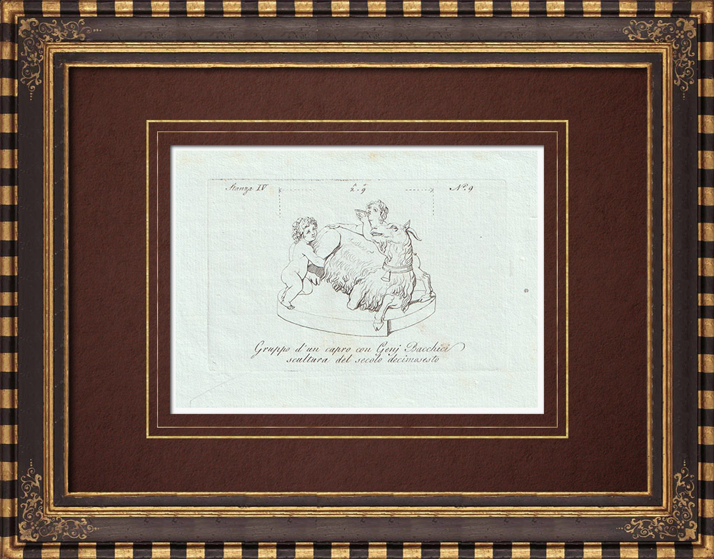 Antique Prints & Drawings | Goat, Bacchus genius and young Faun - Galleria Borghese - Rome | Copper engraving | 1796