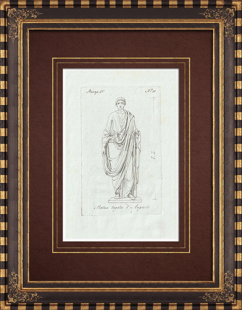 Antique Prints & Drawings | Augustus dressed in toga - Galleria Borghese - Rome | Copper engraving | 1796