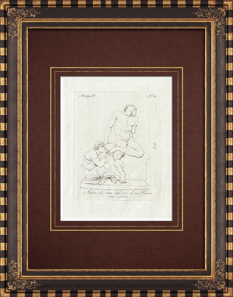 Gravures Anciennes & Dessins | Un Satyre retire une épine du pied d'un Faune - Galerie Borghèse - Rome | Gravure sur cuivre | 1796