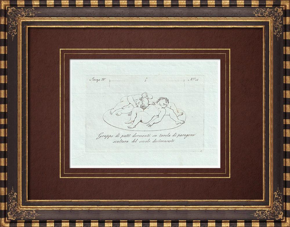 Stampe Antiche & Disegni | Fanciulletti dormenti - Scultura del XVI secolo - Galleria Borghese - Roma | Incisione su rame | 1796