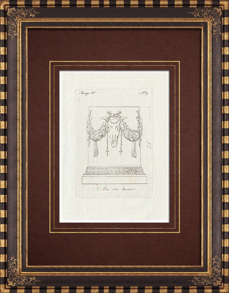 Stampe Antiche & Disegni   Ara con buerani - Galleria Borghese - Roma   Incisione su rame   1796
