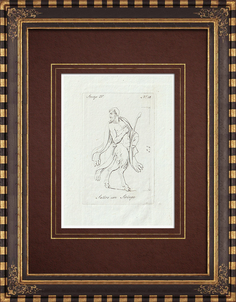 Antique Prints & Drawings   Pan and his attributes - Galleria Borghese - Rome   Copper engraving   1796