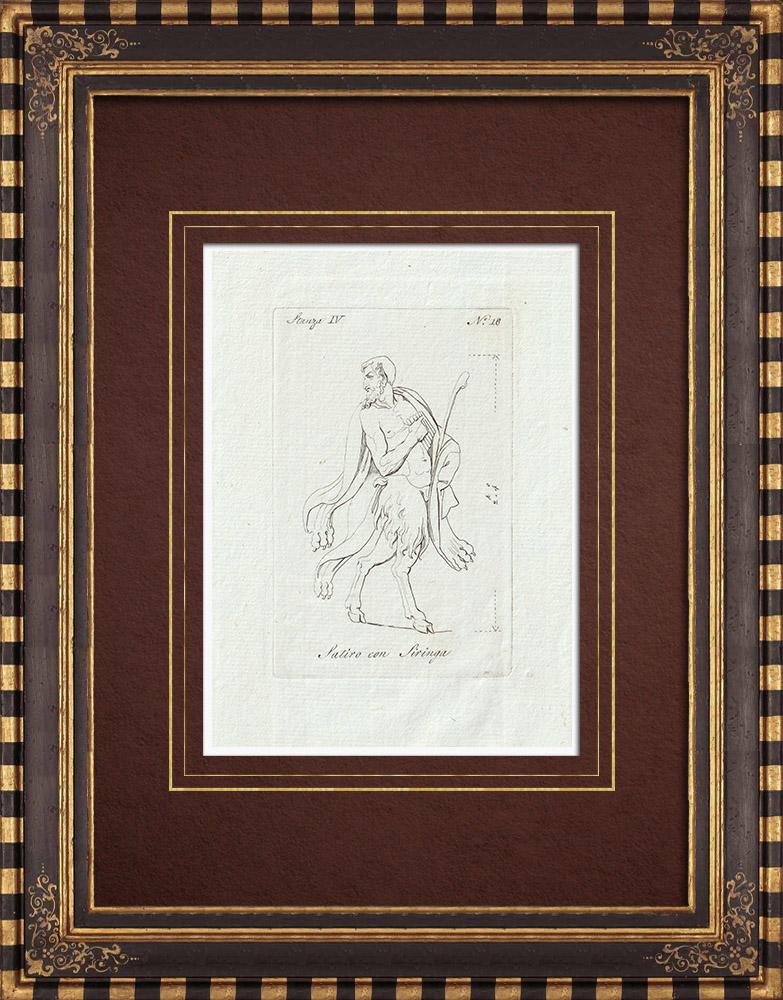 Stampe Antiche & Disegni | Pan e suoi attributi - Galleria Borghese - Roma | Incisione su rame | 1796