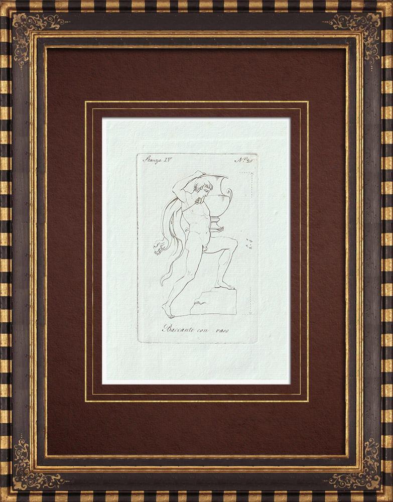 Stampe Antiche & Disegni | Baccante con vaso - Cratere - Galleria Borghese - Roma | Incisione su rame | 1796