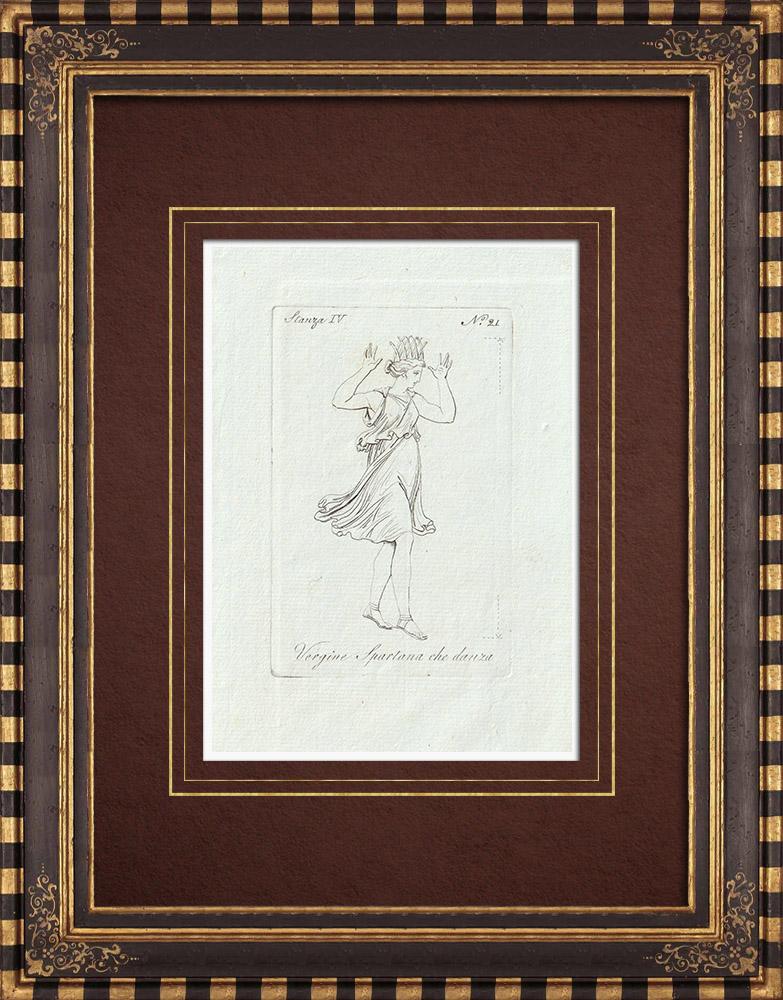 Stampe Antiche & Disegni | Vergine Spartana che danza - Grecia - Galleria Borghese - Roma | Incisione su rame | 1796