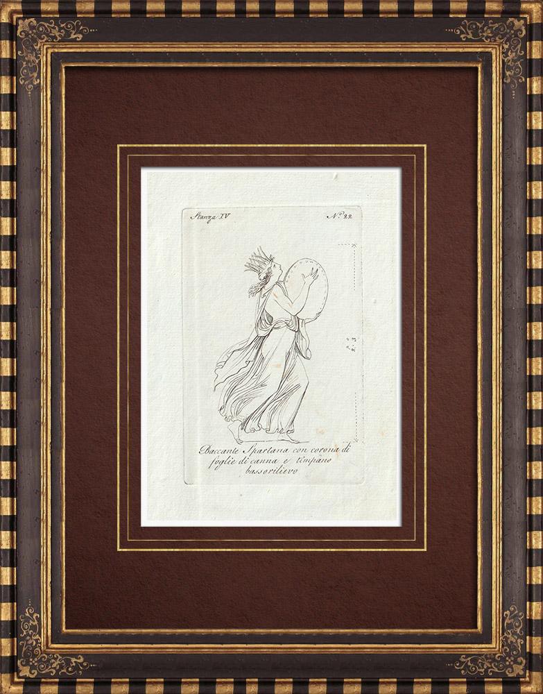 Stampe Antiche & Disegni | Bacchante Spartana con corona di foglie - Bassorilievo - Galleria Borghese - Roma | Incisione su rame | 1796
